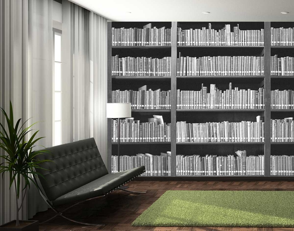 Shop bookshelf mural annandale wallpapers for Bookshelf mural wallpaper