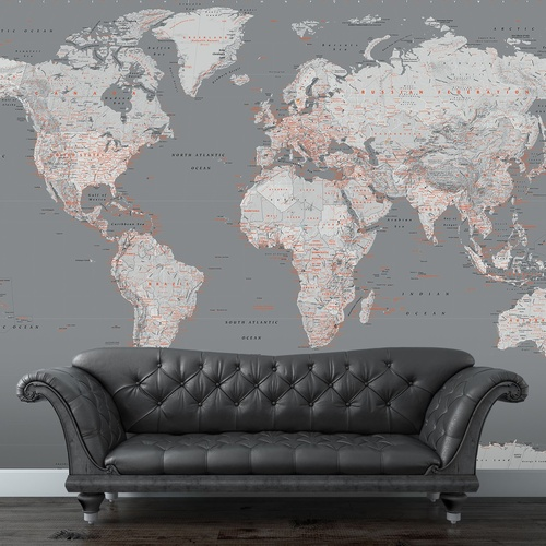 Silver World Map Mural