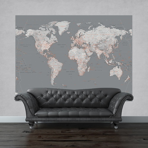 Silver World Map Mural (S)