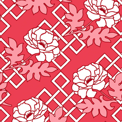 Large Floral Trellis  - Red